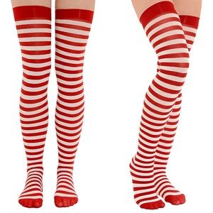 Womens Thigh High Stockings Red and White Striped